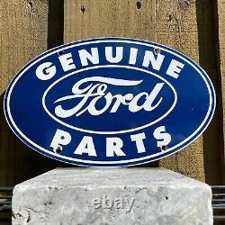 Vintage Ford Auto Porcelaine Pancarte De Métal USA Gas Oil Station Service Mechanic Bleu