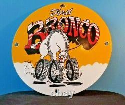 Vintage Ford Motor Co Porcelaine Gaz Auto Bronco Service Station Sign
