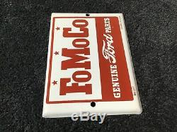 Vintage Ford Motors Porcelaine Signe Gasoil Station Service Pompe Plaque Fomoco