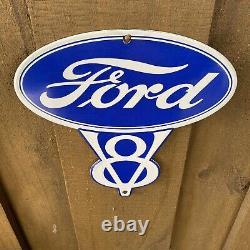 Vintage Ford V8 Porcelain Metal Sign USA Gas Oil Service Station Auto Mechanic