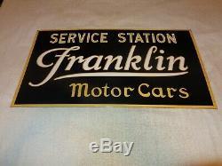 Vintage Franklin Service Station Motor Cars 26 Porcelaine Métal Gas & Oil Sign