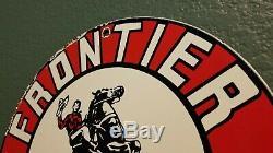 Vintage Frontier Essence Porcelain Station Metal Service Pump Cowboy Sign