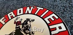 Vintage Frontier Essence Porcelaine Connexion Gaz Metal Service Station De Pompage Plate Annonce