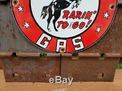 Vintage Frontier Gas Porcelaine Signe Huile Station Service Essence Plate Rare Pompe