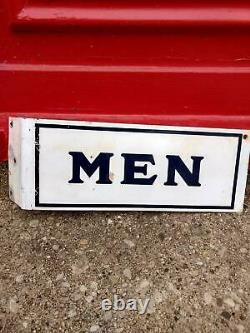 Vintage Gas Oil Service Station Toilettes Homme 2 Sided Porcelain Flange Signe