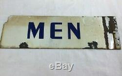 Vintage Gas Oil Station Service Magasin De Porcelaine Signe Hommes Restroom Originale