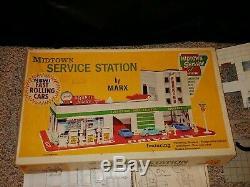 Vintage Gas Station Service Tin Midtown Marx 1971 Playset, 3500, Boîte, Nr Complète