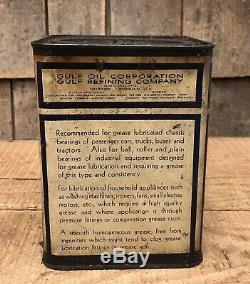 Vintage Gaz Gulf Station Service Graisse Haute Pression 5 Lb Des Boîtes Métalliques
