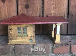 Vintage Gibbs Service Station Toy Gas USA Tin Litho & Bois De Nice! Rare