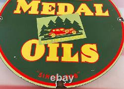 Vintage Gold Medal Motor Oil Porcelain Service Sign Gas Station Pump Plate