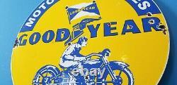 Vintage Goodyear Moto Porcelaine Gaz Pneus De Vélo Service Station Pump Sign