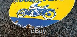 Vintage Goodyear Motorcycle Porcelain Gas Oil Pneus Station Service Pompe Connexion