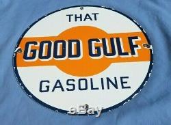 Vintage Gulf Essence Porcelaine Connexion Gaz Metal Service Station De Pompage Plate Annonce