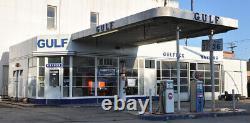 Vintage Gulf Farm Tire Service Center Oil Gas Station Publicité Porcelaine Signe