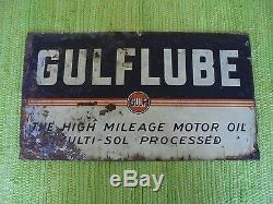Vintage Gulflube Signe 21x12 Gulf Oil Gas Station Service Garage Publicité