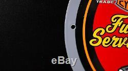 Vintage Harley Davidson Porcelaine Service Signe Station Pompe À Huile Plate Rare