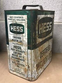 Vintage Hess Huile Moteur 2 Gallon Can Station Service Oil Gas