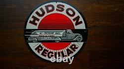Vintage Hudson Regular Porcelaine Signe Gaz Huile Moteur De La Pompe Plate Service Station