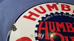 Vintage Humble Essence Service Station Porcelaine De Pompe À Gaz Plaque Annonce Se Connecter