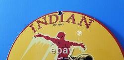 Vintage Indian Chief Gasoline American Spirit Service Station Pump Gas Oil Sign