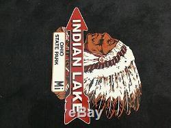 Vintage Indian Lac Pancarte De Métal Plaque Gaz Huile Service Station De Pompage Rare Parc Ohio
