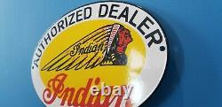 Vintage Indian Motorcycle Porcelaine Gas Service Station Chief Dealer Pump Sign
