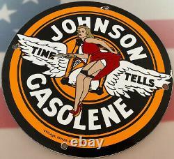 Vintage Johnson Gasoline Porcelain Sign Gas Station Pump Plate Motor Oil Service