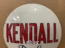 Vintage Kendall De Luxe Pompe À Gaz Globe Lumière Lentille En Verre Station Service Garage