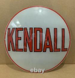 Vintage Kendall Pompe À Gaz Globe Lumière Verre Service Lentille Garage Station Sign