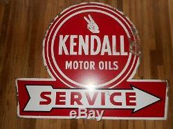 Vintage Kendall Service Huile Moteur Flèche Station Métal Publicité Signe