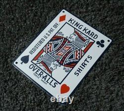 Vintage King Kard Porcelaine Signe Gas Oil Station Service Station Pump Plate Rare Dans L'ensemble