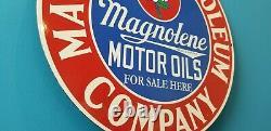 Vintage Magnolia Essence Porcelaine Station Service Station Pump Plate Ad Sign