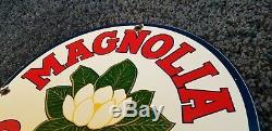 Vintage Magnolia Essence Service Station Porcelaine De Pompe À Gaz Plaque Annonce Se Connecter
