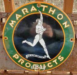 Vintage Marathon Essence Porcelaine Connexion Gaz Metal Service Station De Pompage Plate Annonce
