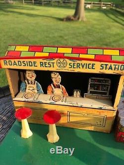 Vintage Marx Roadside Rest Station Service Oil Gas 1930 L @@ K