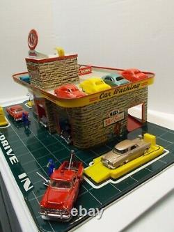 Vintage Marx Tin Litho Service /station-service Avec 1 Service Bay & Roof Parkingca 50s