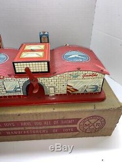 Vintage Marx Toy Service De La Station De Tin 1940 Litho / 50 Iob Globes Gaz Électrique Vg