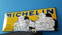 Vintage Michelin Pneus Porcelaine Gaz Bibendum Service Station Convex Big Sign