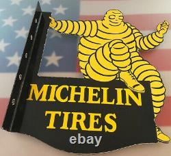 Vintage Michelin Tires Porcelaine Signe Bibendum Gas Service Station Motor Oil