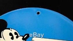 Vintage Mickey Mouse Disney Porcelain Sign Gas Oil Station Service Pump Plate Nr