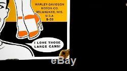 Vintage Mlle Harley Davidson Porcelain Signe Gaz Pompe À Huile Plaque Station Service