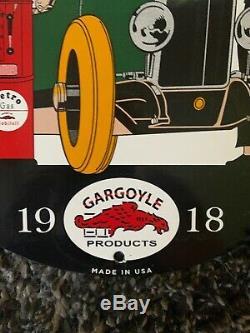 Vintage Mobil Essence Porcelaine Connexion Gaz Huile Service Station De Pompage Plate Pegasus