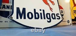 Vintage Mobil Essence Service En Porcelaine Station Pompe Mobiloil Pegasus Sign