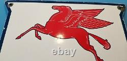 Vintage Mobil Gasoline Porcelain Gas Station Shield Pegasus Signe