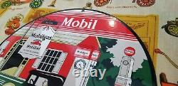 Vintage Mobil Mobilgas Porcelaine Gargoyle Station De Remplissage D'huile D'essence Panneau De Service
