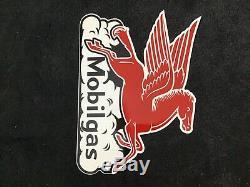 Vintage Mobilgas Pancarte De Métal Gas Oil Station Service Pump Plate Rare Pegasus