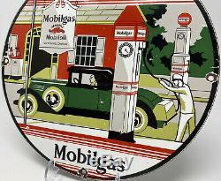 Vintage Mobilgas Porcelaine Signe Huile À Gaz En Acier Garage Pompe Plate Service Station