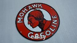 Vintage Mohawk Porcelain Sign Gas Motor Oil Service Station Essence Métal Rare