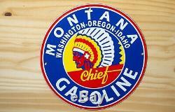 Vintage Montana Chef Essence Porcelaine Signe Gaz Pompe À Huile Plaque Station Service