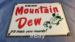 Vintage Mountain Dew Porcelaine Gaz Beverage Station Service Hillbilly Pancarte De Métal
